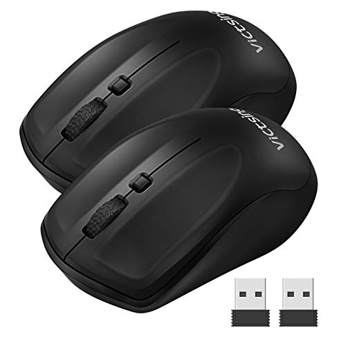 VicTsing 2 Pack Wireless Mouse for Laptop, Portable Ergonomic Mouse-Match Your Hand Better, 3 Adjustable DPI Levels, Power On-Off Switch, Up to 18 Months Battery Life, USB Computer Mouse for Both Hand