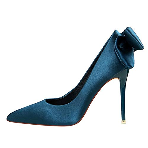 Pump Pink Black Stiletto Women's Satin Basic Heels Fall ZHZNVX Heel Blue Shoes Wine XSwq7