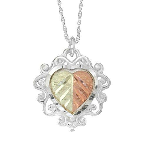 - Black Hills Gold Split Leaf Heart Leaf Pendant in Sterling Silver