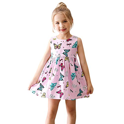 ❤️Rolayllove❤️ Girls Dress Sleeveless Cotton Print Princess Dress Beach Sundress Outfits for Girl 2Y-7Y Pink