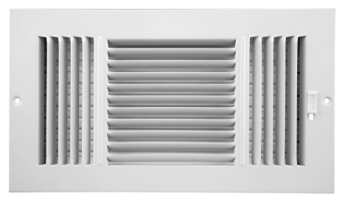 - Accord ABSWWH3126 Sidewall/Ceiling Register with 3-way Design, 12-Inch x 6-Inch(Duct Opening Measurements), White