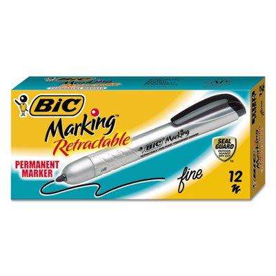 Cleaning Permanent Marker - Marking Retractable Permanent Marker, Fine Tip, Black, Dozen