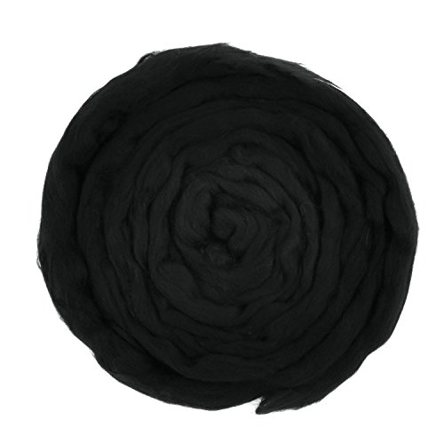 SOLEDI Natural Roving Wool Top Roving Fiber Spin Felt Crafts Needle Felting (Black) (Pound One Black Yarn)