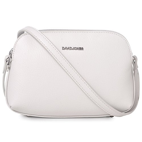 David Jones Fashion Basic Faux Crossbody Ladies Messenger Multi Purse Zipper Handbag Wallet Medium Black White Shoulder Women's Bag Leather Travel Saddle Pockets rrOxdT