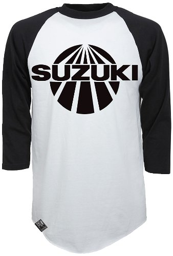Factory Effex 'SUZUKI' Vintage Raglan Baseball Shirt (White/Black, X-Large) by Factory Effex