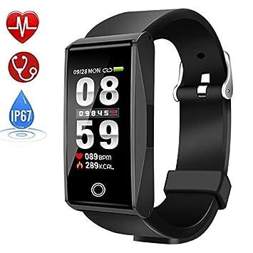 Qooker Montre Connectée,Sport Smartwatch Podometre Cardiofréquencemètre, Sommeil, Réveil, Notifications, Etanche