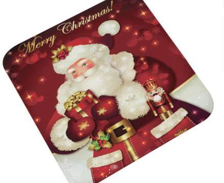 Office Chair Mat Merry Christmas Santa Claus Snowman Door Mat Non-Slip Floor Mat Office Chair Cartoon Indoor Rugs Flannel Carpet