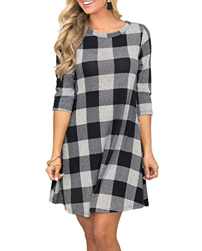 MIROL Womens Long Sleeve Plaid Color Block Diamond Casual Swing Loose Fit Tunic Dress Pockets