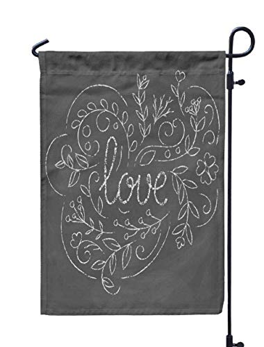 Shorping Welcome Garden Flag, 12x18Inch Love Card Blackboard Chalk Romantic for Holiday and Seasonal Double-Sided Printing Yards Flags]()