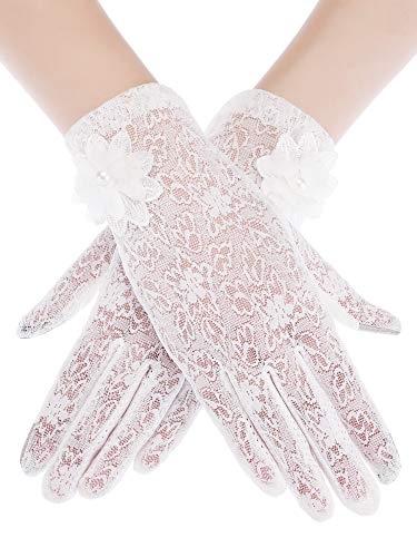 SATINIOR Ladies Lace Gloves Elegant Short Gloves Courtesy Summer Gloves for Wedding Dinner Parties (White 5)