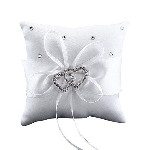 Baost 1 X Wedding Ceremony Ring Bearer Mini Pillow Cushion Royal Ribbon Decor 3.94 inch x 3.94inch - White - Mini Ring Pillow