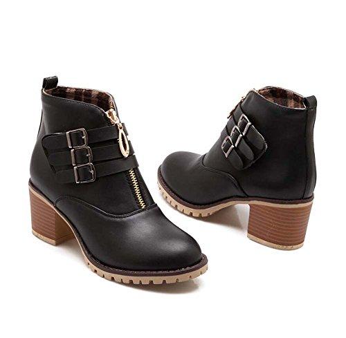 Zapatos 44 Hebilla Color Mujer Botas Tamaño Chelsea Moda Bota Boots Color Casual Zapatos Botas 6cm Zapatos Heel 32 Pura Corte Ronda New Martin Toe Zipper Hebilla Auturm Chunkly Bla Eu Winter Botas C7xaUwqO