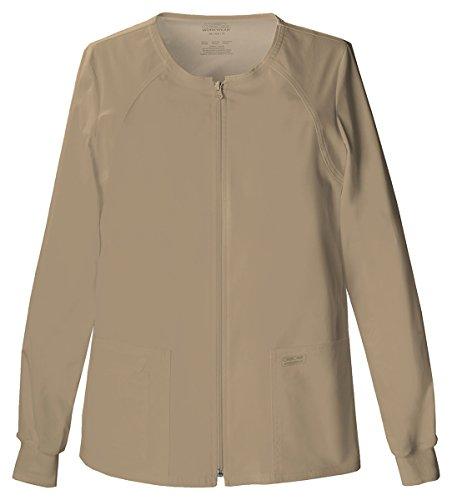 WorkWear by Cherokee 4315 Women's Zip Front Warm-Up Jacket Dark Khaki - Jacket Up Neck Jewel Warm
