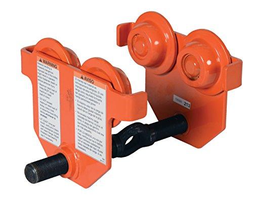 (Vestil E-MT-1 Steel Low Profile Eye Manual Push Trolley, 1,000-lb. Capacity, 2 - 8-5/8