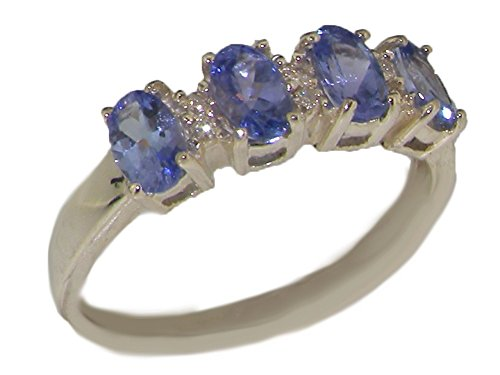 LetsBuyGold 10k White Gold Natural Tanzanite & Diamond Womens Modern Ring (0.03 cttw, H-I Color, I2-I3 Clarity) - Size 8.5
