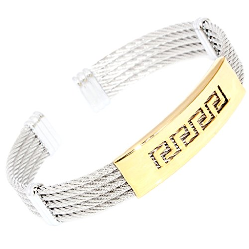 Polished Cap Gold Greek Key Silver Tone 5-Rows Twisted Cable Wire Stainless Steel Bangle Bracelet 102