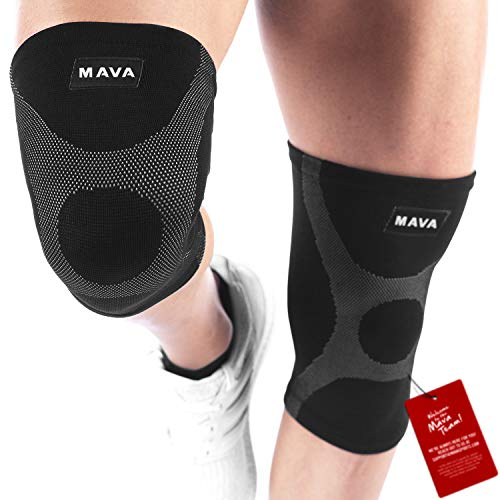 Mava Knee Support Compression Sleeves (Pair) for Running, Jogging,Workout, Walking, Hiking & Recovery - Improved Circulation Compression for Joint Pain and Arthritis Relief (XX-Large, Black & Grey)