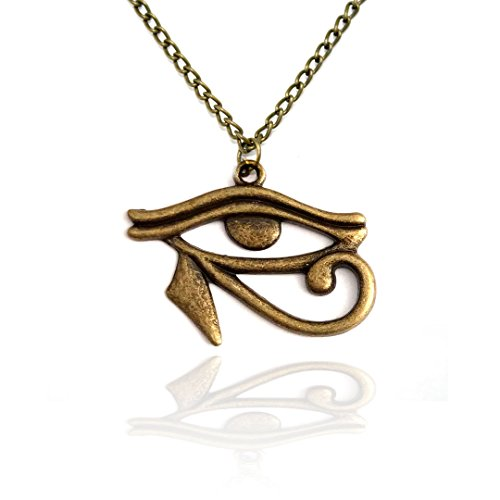 Joji Boutique Egyptian Collection: Antiqued Gold Eye of Horus Necklace (Hades Symbol Necklace)