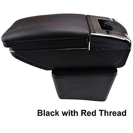 Rotatable Armrest For 2010-2017 Polo Mk5 Vento Black Thread Storage Box Arm Rest XUKEY