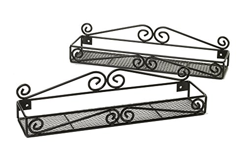 2 Wall Mounted Black Spice Racks - Single Tier Hanging Organizers – Pantry/Kitchen Storage Rack - Handcrafted Metal Scroll Design by Unum – 2 Pack