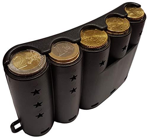 CLAIRE-FONCET Dispensador de Monedas Curvado para las 5 principales piezas de Euro, distribuidor de moneda redondeado para engancharlo al cinturon, ...