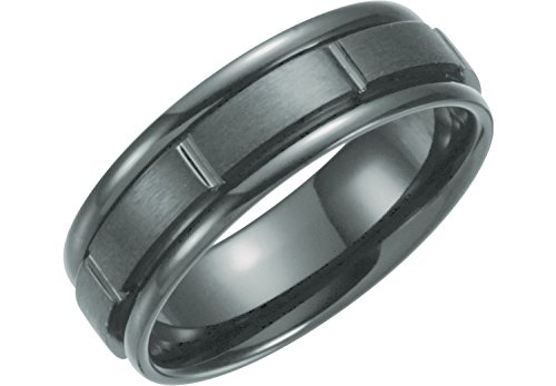 7mm Black Titanium Matte Ridged Comfort Fit Band Size 10 by The Men's Jewelry Store