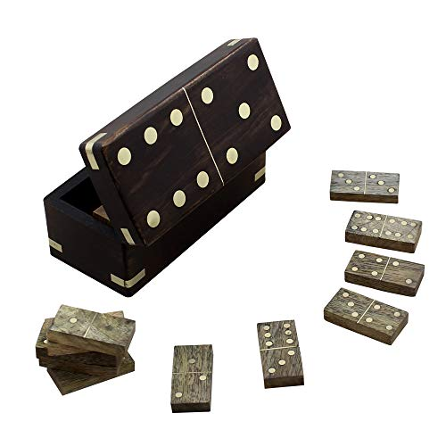 RoyaltyRoute Wooden Dominoes Sets with Double Six 28 Tiles Handmade Block Game Box Toys - Christmas Gifts for Kids, Adults, Boys & Girls ()