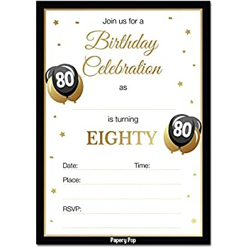 Amazon 80th Birthday Invitations With Envelopes 30 Pack