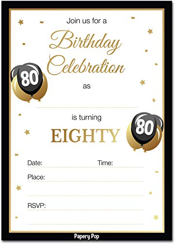 80th Birthday Invitations with Envelopes (30 Pack) - 80 Eighty Year Old Anniversary Party Celebration Invites Cards -