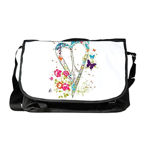 Royal Lion Laptop Notebook Messenger Bag Flowered Butterfly Heart Peace Symbol