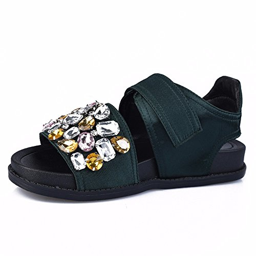 Europa Y Los Estados Unidos Torta De Pino Sandalias De Playa Diamante Femenino Antiresbaladiza Ocio Zapatos Sandalias Mujer Romana Inferior Grueso Green