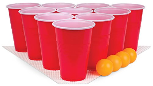 Perfect Life Ideas 30 Pc Beer Pong Set Cool Fun Beer Drinking Party Game to Play for Adults College Students - Includes Cups, Balls, Game Anti Skid Mat More -