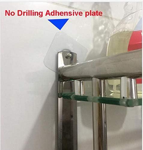 in acciaio inox montaggio a parete senza fori in vetro temperato con binario Mensola da bagno con viti da 38,1 cm