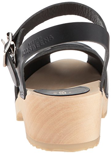 Delle Bassa Donne Peep Swedish Sandalo Nere Toe Hasbeens Tacco IZ7Cwq0