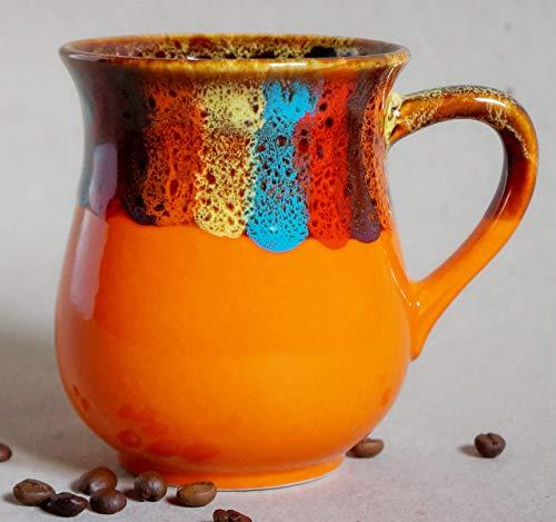 Orange ceramic tea mug, Handmade pottery rainbow coffee mug, Fall gift ideas for mom, Rainbow gift for her, friend, Bright mug ()