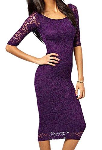 Minetom Mujeres Vestido Manga 3/4 Vintage Encaje Bodycon Casual Slim Falda Para Fiesta Dress Violeta