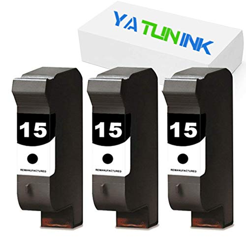 YATUNINK Remanufactured Ink Cartridge Replacement for HP 15 C6615DN (3 Black, 3 Pack)