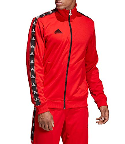 adidas Men's Soccer Tango Tan Tape Clubhouse Full Zip Jacket Track Top (X-Large, Red)