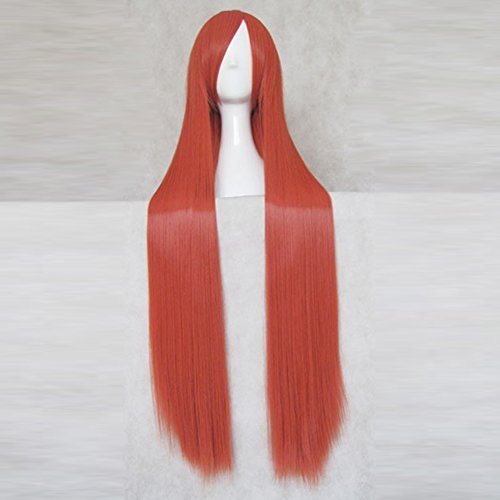 Gintama Kagura Dark Orange 100CM Long Anime Cosplay Party Hair Wig + Free Wig Cap