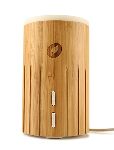 Bamboo Diffuser - Real Bamboo Wood Essential Oil Diffuser 100ml - Ultrasonic Aromatherapy Cool Mist Humidifier - Air Purifier Adjustable Mist & Waterless Auto Shut-off, Eco Friendly for Home Baby Office Spa