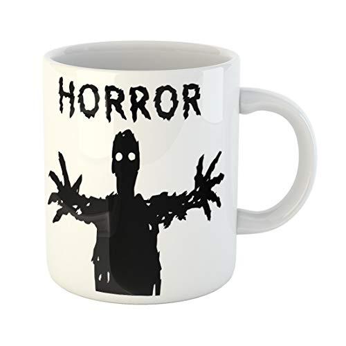 Emvency Funny Coffee Mug Dark Silhouette with Glowing Eyes Draws His Hands the Horror Genre Scary 11 Oz Ceramic Coffee Mug Tea Cup Best Gift Or Souvenir ()