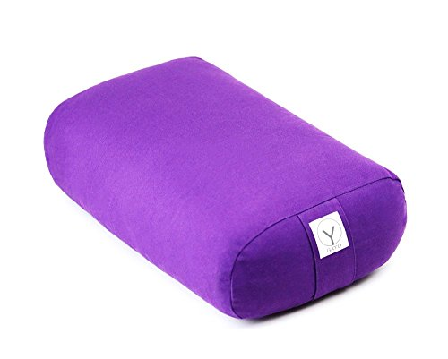 Gayo 100% Organic Cotton Yoga Bolster by Supportive Rectangular Pillow for Yoga and Meditation Cushion (Purple) (17″x12″x6″)