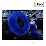 Younglingn Car Steering Whieel Gear Shift Handbrake Fuzzy Cover 1 Set 3 Pcs with Winter Warm Pure Wool for Girl Universal Fit Most Car(Royal Blue)