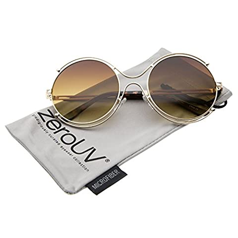 zeroUV - Women's Fashion Wire Rimmed Temple Cutout Round Oversized Sunglasses 58mm (Gold / Amber) - Wire Frame Gradient Sunglasses