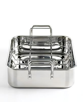 Martha Stewart Collection Roaster 15 Stainless Steel with Roasting Rack 15 Stainless Steel with Roasting Rack