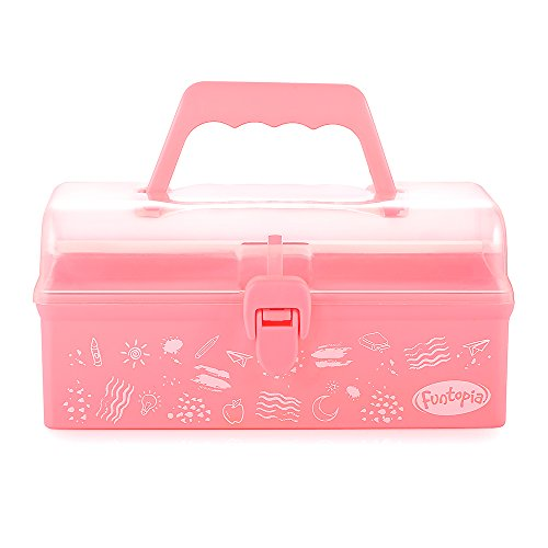 Funtopia Plastic Art Box for Kids, Multi-Purpose Portable Storage Box/Sewing Box/Tool Box for Kids' Toys, Craft and Art Supply, School Supply, Office Supply – Pink