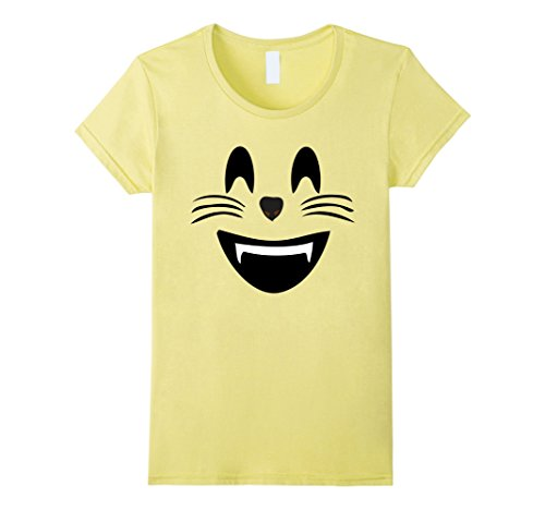 Space Ghost Costume Amazon (Women's Emoji Halloween Costume Smiling Cat Face Mouth Open Emoji Large Lemon)