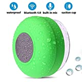 BONBON Shower Speaker Bluetooth Waterproof Water Resistant Handsfree Portable Wireless Shower Speaker,Build-in Microphone, Solid Suction Cup, 4 hrs Play Time(Green)