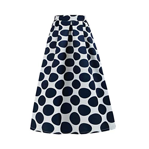 Zlolia Women's Polka Dot Print Bohemian Skirt Stretch High Waist Midi Swing Dress Navy