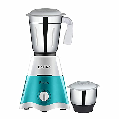 Baltra Promo (550 Watt) Mixer Grinder with 2 Stainless Steel Jars – Turquoise Green & White